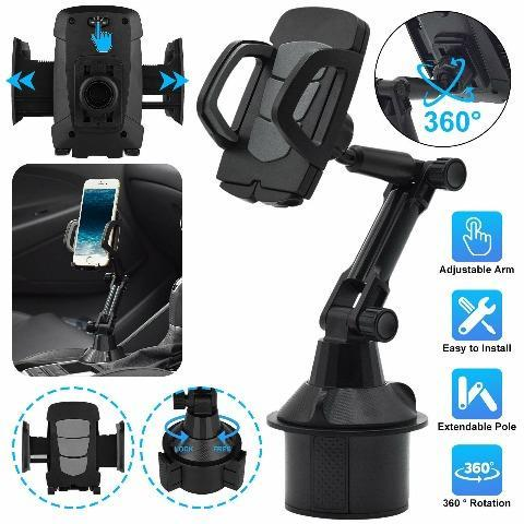 Car Cup Holder Phone Mount Adjustable Height Cell Phone Cradle