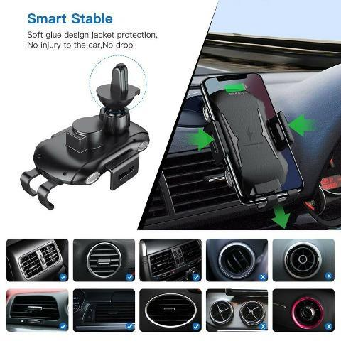 Weather 2020 Wireless Car Charger 10W Clamp Mount Air Vent Phone Holder