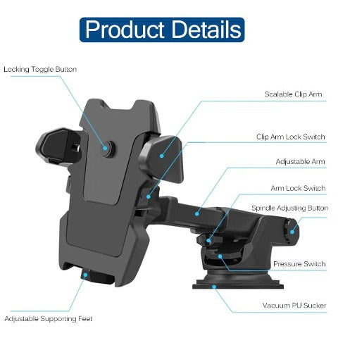 Weather 2020 Car Phone Mount With Adjustable Extension Arm