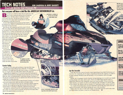 Custom seat Arctic cat sled snowmobile magazine