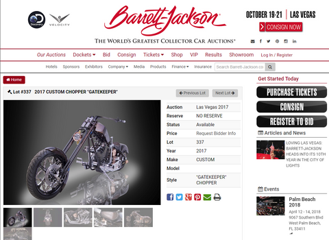 Barrett Jackson Debaise brothers gate keeper motorcycle