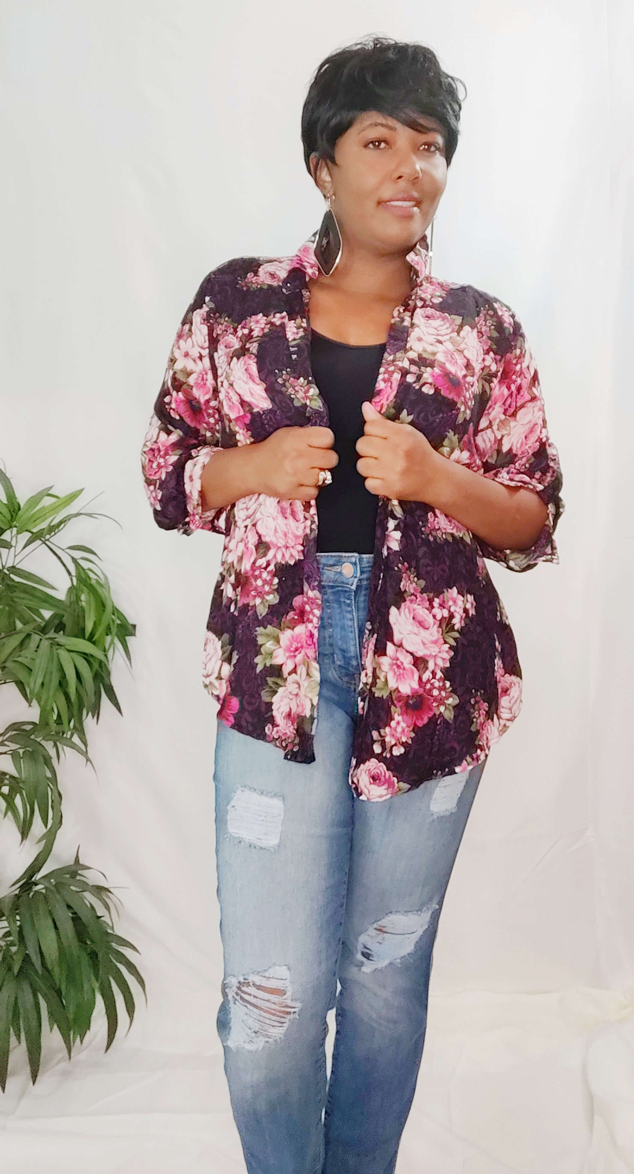 Black and Floral Blouse