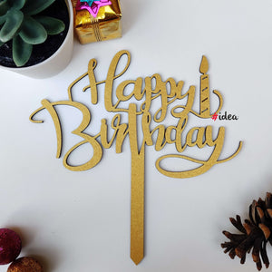 Happy birthday with candle cake topper