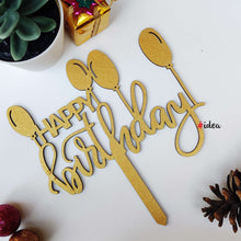 Load image into Gallery viewer, Happy birthday with balloons cake topper