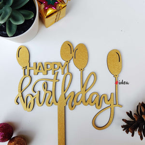 Happy birthday with balloons cake topper