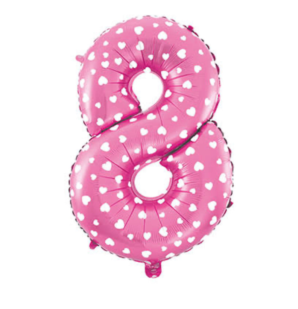 40 inch Number Balloon - Pink with hearts