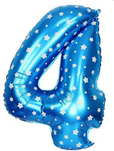 40 inch Foil Number - Blue with stars