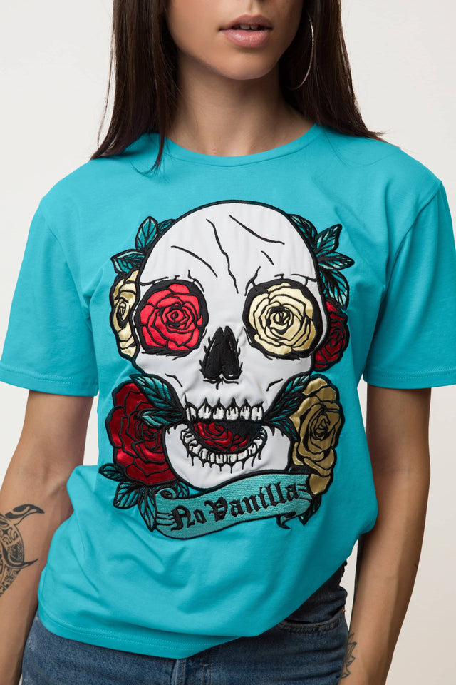 Embroidered Skull Roses T-shirt Woman - MENTHOL
