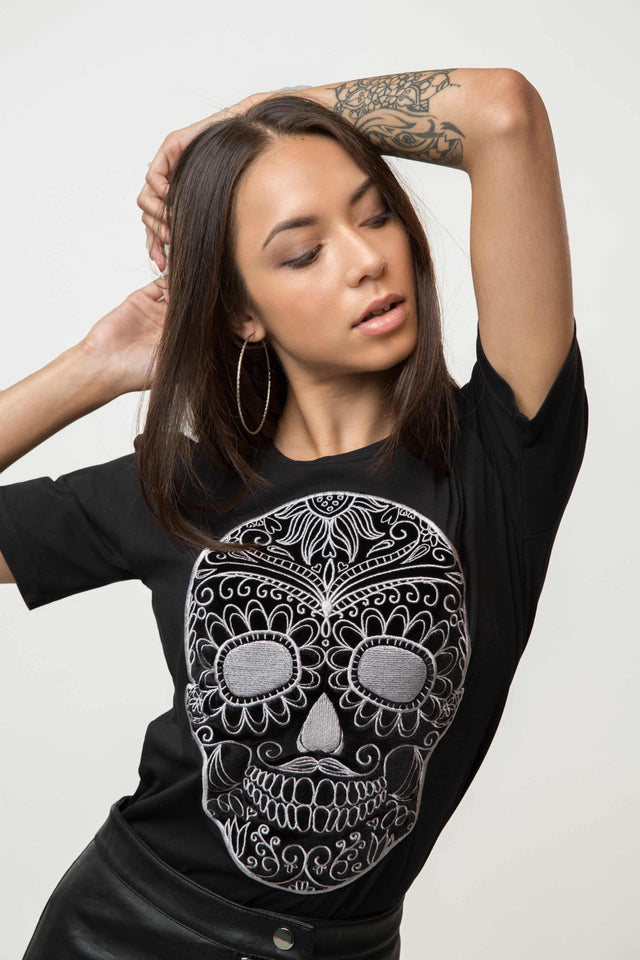 Embroidered Black Moustache Skull T-shirt Woman - SILVER
