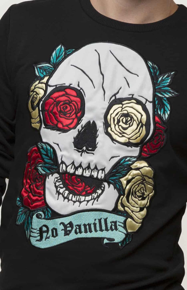Embroidered Skull Roses Sweatshirt Man - BLACK
