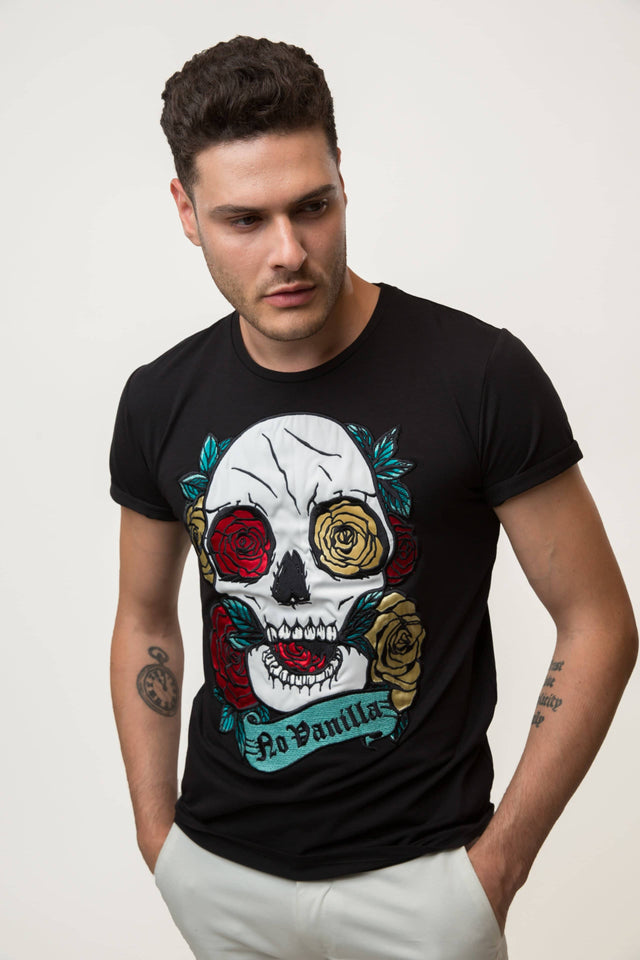 Embroidered Skull Roses T-shirt Man - BLACK