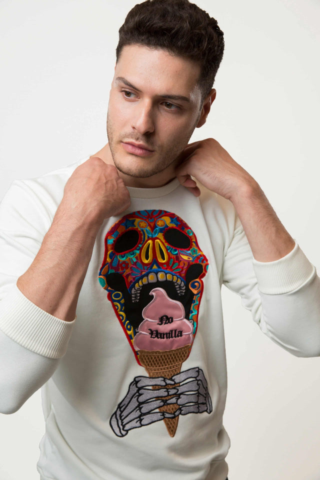 Embroidered Skull Ice Cream Sweatshirt Man - CHAMPAGNE