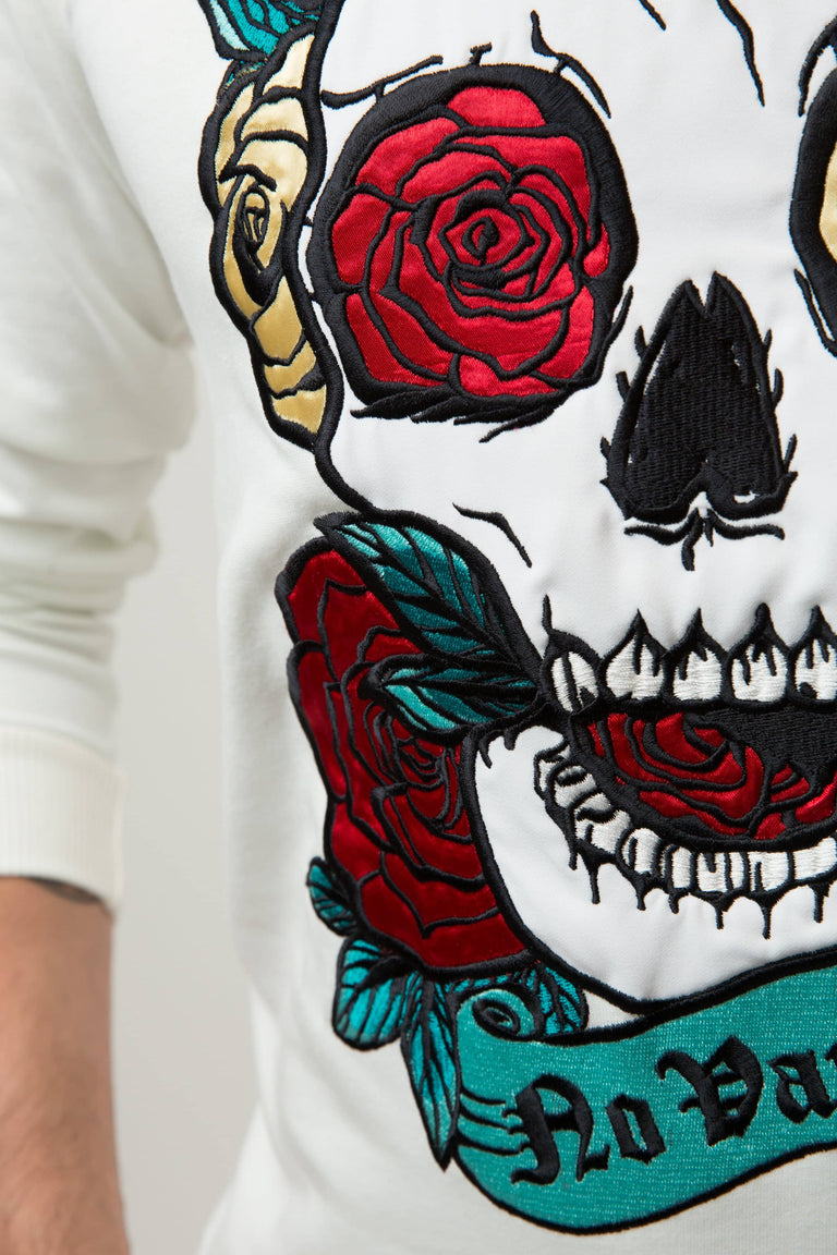 Embroidered Skull Roses Sweatshirt Man - CHAMPAGNE