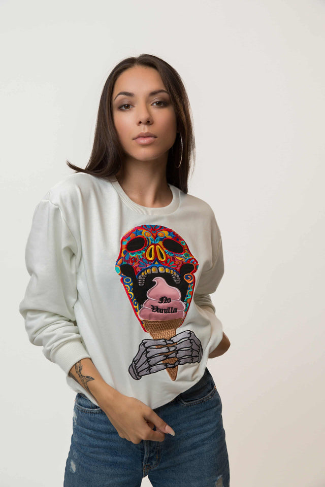 Embroidered Skull Ice Cream Sweatshirt Woman - CHAMPAGNE