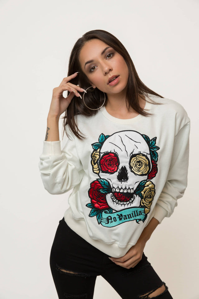 Embroidered Skull Roses Sweatshirt Woman - CHAMPAGNE