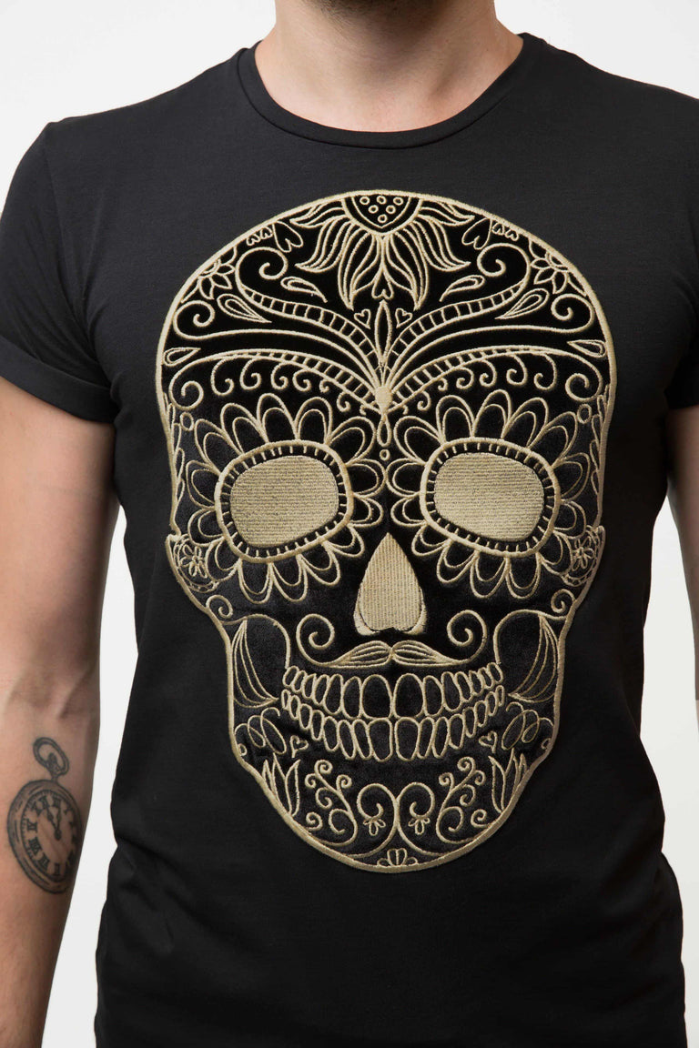 Embroidered Black Moustache Skull T-shirt Man - GOLD