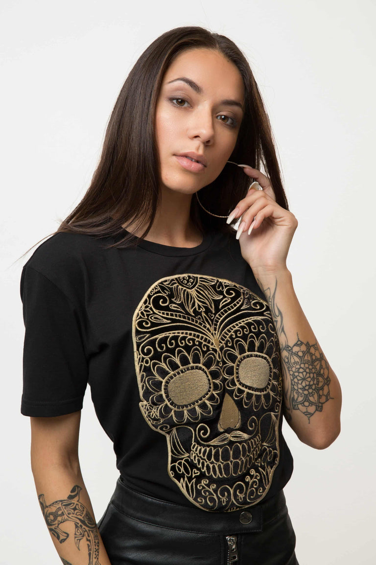Embroidered Black Moustache Skull T-shirt Woman - GOLD