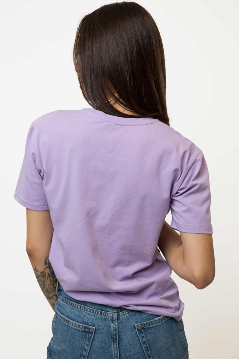 Embroidered Skull Roses T-shirt Woman - LILAC
