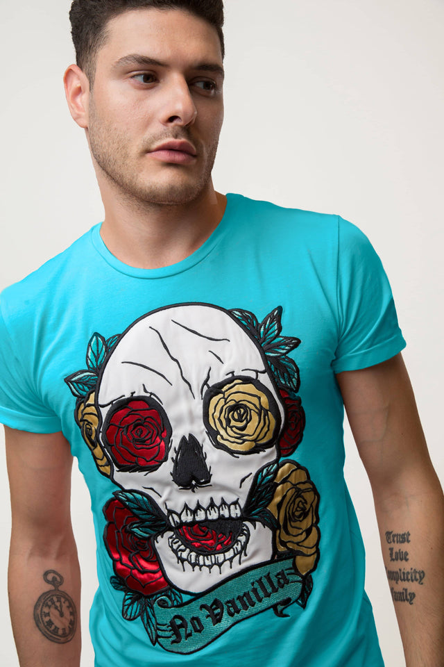 Embroidered Skull Roses T-shirt Man - MENTHOL