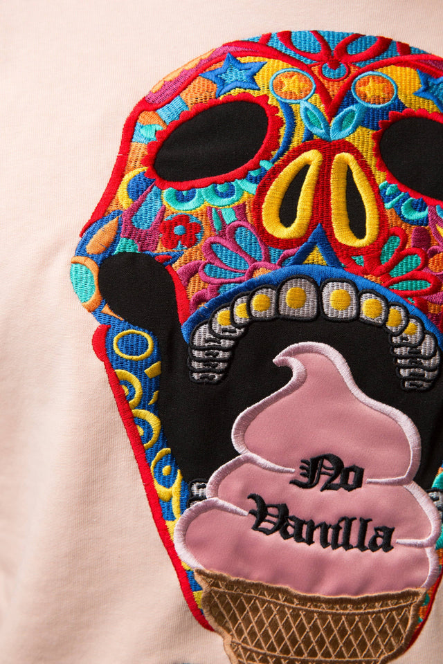 Embroidered Skull Ice Cream Sweatshirt Man - CREAM