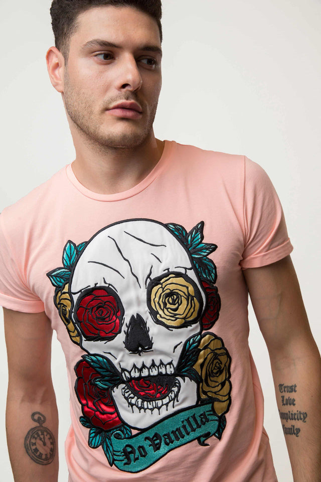 Embroidered Skull Roses T-shirt Man - PEACH