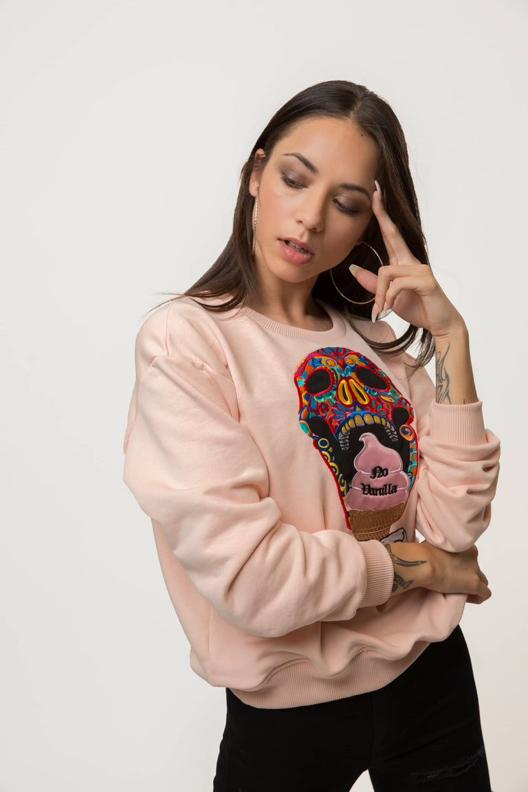 Embroidered Skull Ice Cream Sweatshirt Woman - CREAM