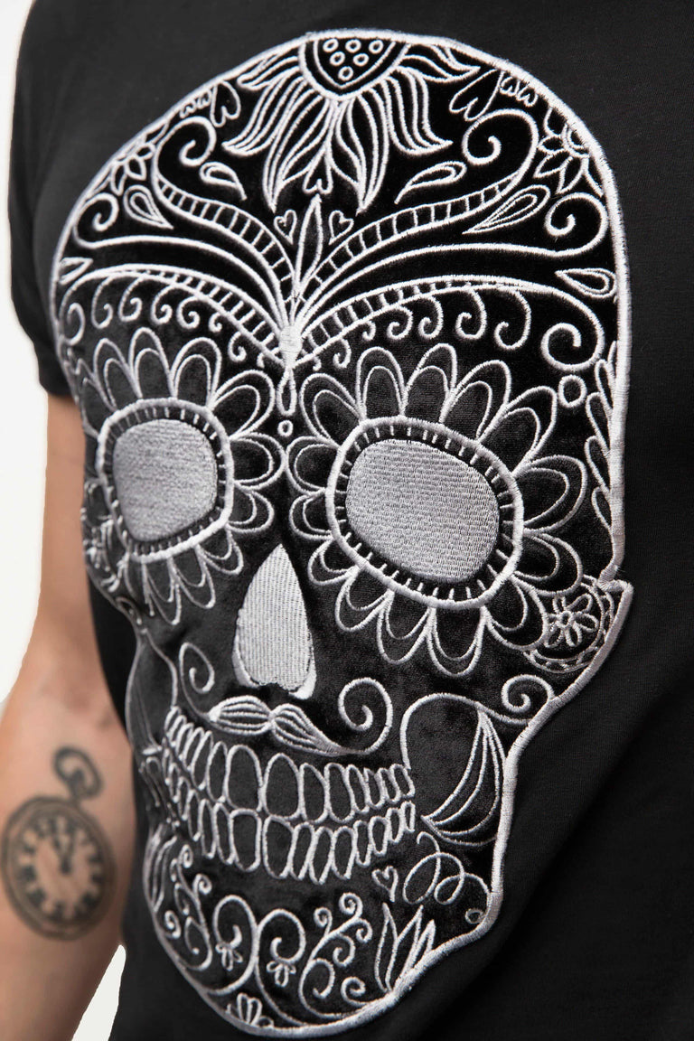 Embroidered Black Moustache Skull T-shirt Man - SILVER