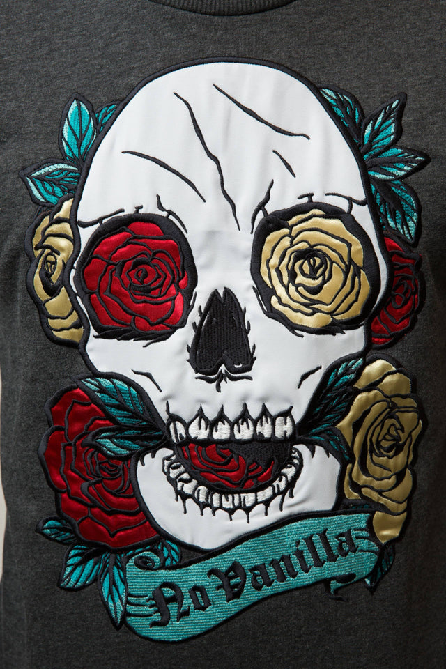 Embroidered Skull Roses Sweatshirt Man - WET ASPHALT