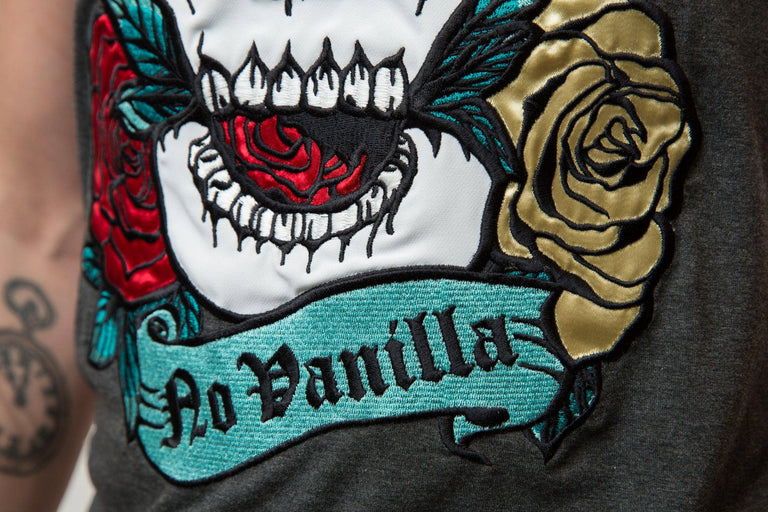 Embroidered Skull Roses T-shirt Man - WET ASPHALT