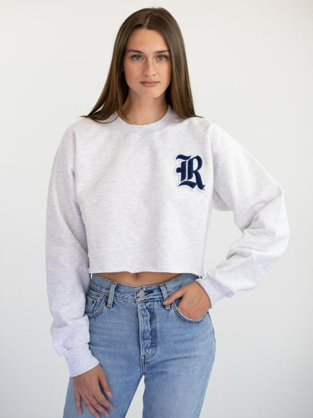 Rice University Owls Old English R Chenille Patch Crewneck Cropped Sweatshirt - Ash Grey