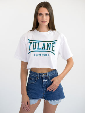 Tulane University Green Wave Retro Bend Cropped T-Shirt - White