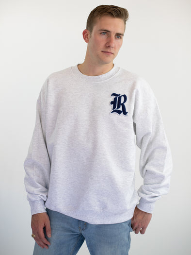Rice University Owls Old English R Chenille Patch Crewneck Sweatshirt - Ash Grey