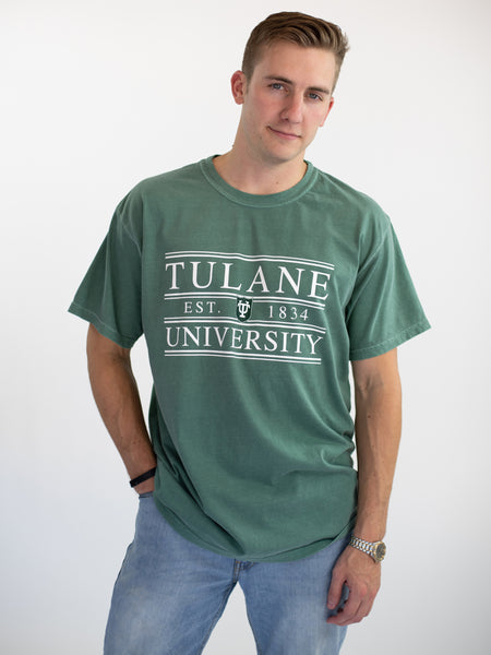 Tulane University Green Wave Coat of Arms T-Shirt - Light Green