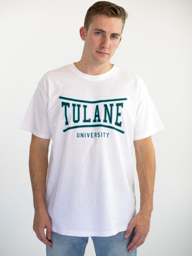 Tulane University Green Wave Retro Bend T-Shirt - White