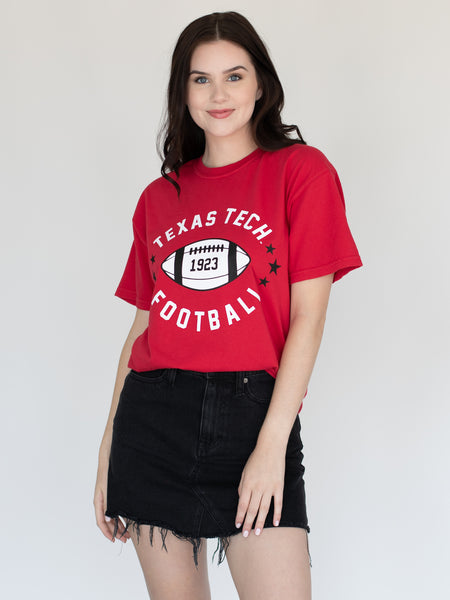 Texas Tech University Red Raiders Football Star Comfort Colors T-Shirt - Red