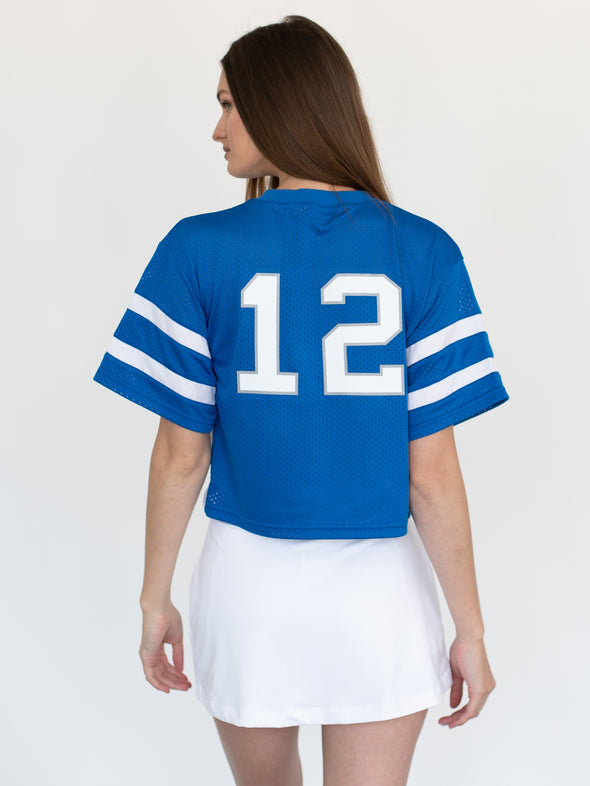 University of Memphis Tigers Mesh Fashion Football Cropped Jersey - Blue