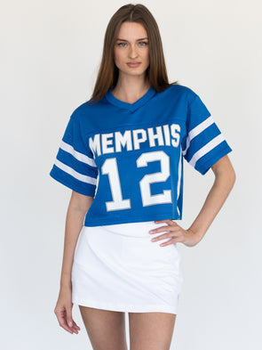 University of Memphis Tigers Cropped Mesh Fashion Football Cropped Jersey - Blue
