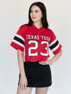 Texas Tech University Red Raiders Mesh Fashion Football Cropped Jersey - Red