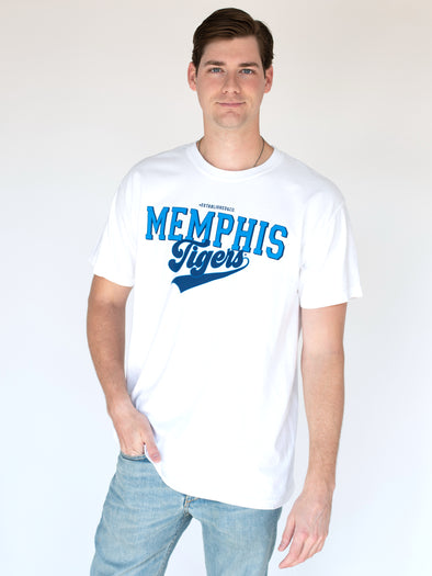 University of Memphis Tigers Retro Comfort Colors Short Sleeve T-shirt - Blue