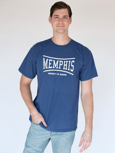 University of Memphis Tigers Retro Bend Comfort Colors Short Sleeve T-shirt - Blue