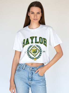 Baylor University Bears Vintage Growler Short Sleeve Cropped T-Shirt - Ash Grey