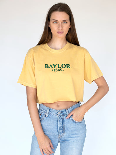 Baylor University Bears 1845 Embroidered Comfort Colors Short Sleeve Cropped T-Shirt - Yellow