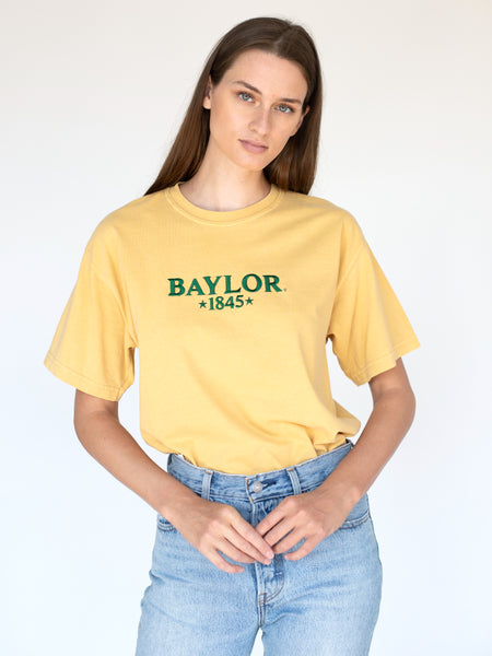 Baylor University Bears 1845 Embroidered Comfort Colors Short Sleeve T-Shirt - Yellow