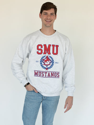Southern Methodist University Mustangs SMU Vintage Mascot Crewneck Sweatshirt - Ash Grey