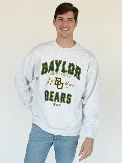 Baylor University Bears Vintage Star Crewneck Sweatshirt - Ash Grey