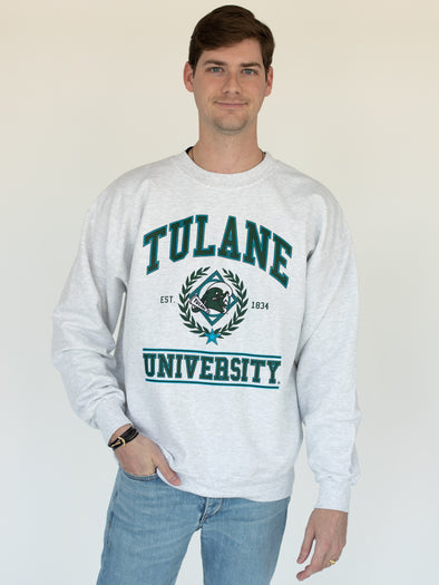 Tulane University Green Wave Vintage Wave Crewneck Sweatshirt - Ash Grey