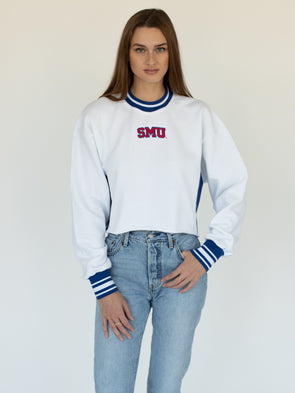 Southern Methodist University Mustangs SMU Vintage Color Block Embroidered Cropped Crewneck Sweatshirt - White/Red