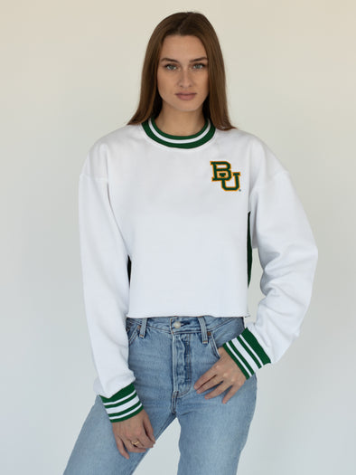 Baylor University Bears Vintage Color Block Embroidered Cropped Crewneck Sweatshirt - White/Green
