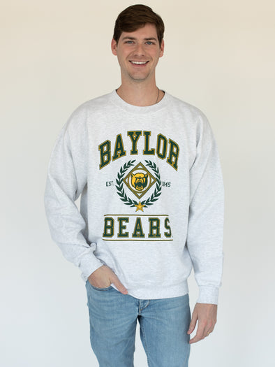 Baylor University Bears Vintage Mascot Sweatshirt - Ash Grey