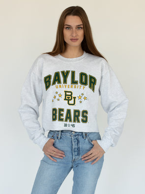 Baylor University Bears Vintage Star Cropped Crewneck Sweatshirt - Ash Grey